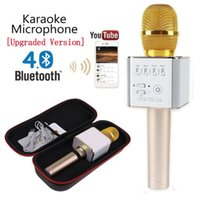 Wholesale q9 cell phone - Q7 Microphone Q9 Wireless Microphones Bluetooth Magic Karaoke Microphone With 4 Speakers MIC Fun Voice Change Professional Player speaker