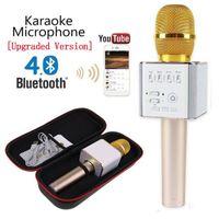 professionelle mikrofonstimme großhandel-Q7 Mikrofon Q9 Drahtlose Mikrofone Bluetooth Magic Karaoke Mikrofon Mit 4 Lautsprechern MIC Fun Voice Change Professioneller Player Lautsprecher