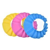 ingrosso cappelli da bagno per bambini-Bagnetto Bagno Proteggi Soft Cap Cappello EVA Schiuma regolabile per bambini Bambini Giallo blu rosa Safe Shampoo Baby Shower Cap