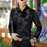 прозрачные рубашки оптовых- Transparent Shirt Men Floral Embroidery Lace Shirt For Male Sexy See Through Dress Shirts Mens Club Party Prom Chemise