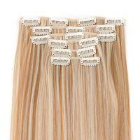 las extensiones de clip resistentes al calor al por mayor-VERVES 6 piezas de 16 clips de pelo sintético con clip de extensión de cabello de 24 pulgadas de largo recto Hairpiece resistente al calor