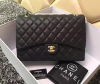 Wholesale women celebrity fashion handbag online - 2019 Luxury quality Celebrity design Maxi Jumbo XXL Plaid Chain bag Lambskin Fashion Woman Caviar Leather Shoulder Flap Bag Handbag