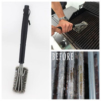 Wholesale black head stick resale online - 45cm Length Black Grill Brush BBQ Barbecue Cleaner Brushes in Head Durable Cooking BBQ Tools CCA9265