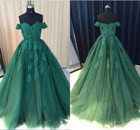 Wholesale vintage evening dresses for sale for sale - For Sale Off Shoulder Prom Dresses Lace Dress Capped Sleeves Appliques Sweep Train Formal Evening Dresses Party Gowns