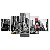 malerei stadt gerahmt großhandel-2018 heiße Verkäufe Rahmen 5 Panels Bild New York City Hd Leinwanddruck Malerei Kunstwerk Wandkunst Leinwand Malerei Großhandel Y18102209