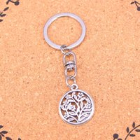 Discount silver circle key ring - New Design circle flower Keychain Car Key Chain Key Ring silver pendant For Man Women Gift
