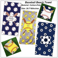 Wholesale patterned bath mats - 5 Styles 150*75cm Sports Towel Soccer Football Baseball Pattern Beach Towel Microfiber Picnic Mat Sports Bath Towel CCA9985 20pcs