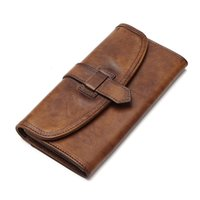 SMIRNOFF Hasp Handmade Vintage Wallet para mulheres Cor Changing Vegetable Tanned Leather Wallet Card Holder bolsa de couro feminina