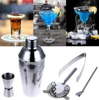 Wholesale wholesale steel home kits - Professional 5pcs set 550ml Stainless Steel Cocktail Shaker Mixer Drink Bartender Kit Bars Home Tools CCA8804 30set
