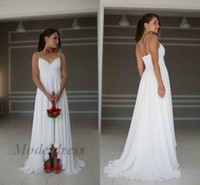 Wholesale asymmetrical hi low wedding dress for sale - Group buy Sexy Chiffon Beach Wedding Dresses Criss cross Back Spaghetti Straps A Line Short Front Long Back Hi Low Boho ridal Gowns Pleated Fluffy