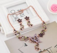 Wholesale Purple Butterfly Set - Hot Europe Fashion Jewelry Sets Vintage Butterfly Pendant Rhinestone Flowers Elegant Necklace Earrings