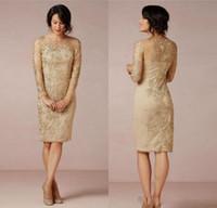 janique gowns toptan satış-2018 Muhteşem Anne Gelin Elbiseler Dantel Kısa Örgün Akşam Elbise Diz Boyu Uzun Kollu Anne Gelin Kıyafeti