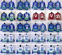 camisetas de hockey madrigueras al por mayor-Vancouver Canucks Hockey 33 Henrik Sedin Jersey 22 Daniel Sedin 14 Alex Burrows 3 Kevin Bieksa 30 Ryan Miller 16 Trevor Linden Edler