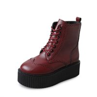 Wholesale british style flat shoe women for sale - Group buy Women Leather Boots High Heels Platform Ankle Boots Ladies Brogue Shoes Woman British Style Lace up Black