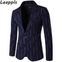 платья с вертикальной полосой оптовых-Leappls Плюс размер 5XL Вертикальные полосы Платье Пиджаки Мужская мода Smart Повседневная Одной Кнопкой Свадебное платье костюм мужской Повседневная Осень