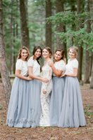 Wholesale wedding dresses neckline styles resale online - Bohemian Style Lace Tulle Bridesmaid Dresses A Line Short Sleeves Floor Length Jewel Neckline Boho Maid of Honor Dresses for Country Wedding