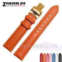 Wholesale Womens Bracelet Pink Leather - 12mm 14mm 16mm 18mm 20mm Genuine Leather Watch Band Strap Mens or Womens Soft fashion bracelets watchband