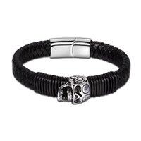handkette armreifen leder großhandel-Modeschmuck Trend männlichen aktuellen Armband schwarz Amulett Herren Leder Retro Skeleton Skull Armreifen Kette auf der Hand