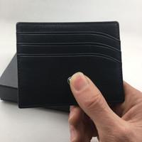 calidad titular de la tarjeta de crédito metal al por mayor-Titular de la tarjeta de crédito de cuero genuino negro clásico Monedero de la caja de la tarjeta de identificación del banco delgado de calidad superior Star MB Monedero de la bolsa de bolsillo pequeño diseñador