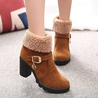 Wholesale ladies high heel working shoes - szsgcn84 women snow boots New Autumn Winter Women Boots High Quality Solid Lace-up European Ladies Shoes Leather Fashion Boots