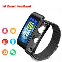 reloj gps de calidad al por mayor-Pantalla a color Y6 Smart Watch Pulsera de cinturón deportivo Llame al podómetro Frecuencia cardíaca Podómetro Frecuencia cardíaca envío gratis de alta calidad