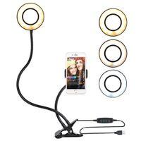 soporte de luz de anillo al por mayor-Selfie Ring Light con soporte para teléfono celular Soporte para transmisión en vivo Luz LED para cámara con brazos largos flexibles para Android iPhone 8 7 6 X