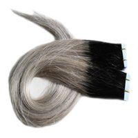 Wholesale ombre gray straight hair resale online - 1B Silver Grey Ombre skin weft tape extensions G Straight gray hair Piece PU tape in human hair extensions