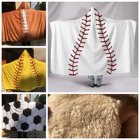 Wholesale adult unisex hoodies for sale - Group buy 4 Styles Baseball Hooded Blanket Adult Sherpa Baseball Hoodie Blanket Sherpa Sports Themed Softball Hooded Football Blanket CCA10690
