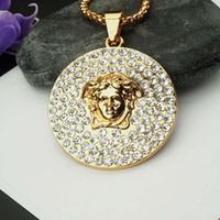 ожерелье хип-хоп титановая сталь оптовых-Медуза ментальный Алмазный кулон для женщин мужчины позолоченные титана стали Ожерелье для хип-хоп дизайнер мужчины аксессуары