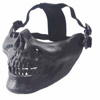 camuflaje arma al por mayor-Halloween Media Cara Calavera Máscara Protectora Paintball Air Gun Máscara de Protección Camuflaje Scary Broma Cosplay Combate Camuflaje Caza