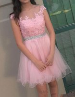 Wholesale cute knee length prom dresses - 2018 Pink Short Homecoming Dresses Capped Sleeve Beading Lace Cute Round-neck 16 Prom Gowns Knee-length A-line Cocktail Dresses Custom Made