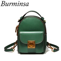 Wholesale cute korean style bags resale online - Burminsa Korean Style Mini Genuine Leather Backpack Cute Girls Travel Bags Designer Brand Causal Shoulder Bags For Women
