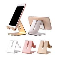 soportes de aluminio para laptop al por mayor-Soporte universal de soporte de escritorio para tableta de teléfono móvil de lujo Soporte de metal de aluminio para iPhone para iPad Mini para tabletas con teléfono inteligente Samsung Computadora portátil