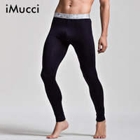 Wholesale soft penis sleeves - iMucci Black Soft Modal Men Thermal Underwear Sexy Warm Pants Gay Leggings Men Penis Bag Healthy Long Johns Crazy Design
