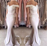 Wholesale junior girls wedding dresses resale online - Mermaid Bridesmaid Dresses Long Off shoulder Zipper Back Formal Wedding Party Gowns Off Shoulder Girls Junior Maid Of Honor Dress Cheap