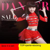 rote kleider tänzer großhandel-KTLPARTY Kinder Mädchen rot Cheerleader Cheerleading Gymnastik Kleid Kostüme Jazz Tänzerin Kleidung Kostüm Hosen Strumpf
