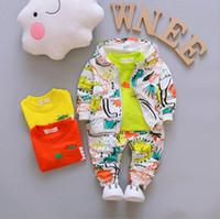 Wholesale t hoodies - Spring kids clothes boys long sleeve crocodile hoodies+T-shirt+pant set 3 pieces children clothes suit 4 s l