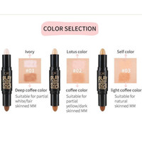 Wholesale Nose Types - Hot Sell YANQINA Double Head Sexy Makeup Natural Shimmer Cream Face Nose Party Foundation Concealer Highlighter Shadow Contour Bar 3001228