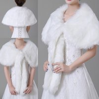 Wholesale accessories wedding winter fur for sale - Group buy Winter Ivory Imitation fur Bridal Wrap Shawl Coat Soft Warmer Shrug Cape Wrap Jacket Accessories For Wedding Party