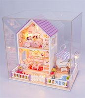 Wholesale wood toys furniture doll house - Doll House Diy Originality Assembling Cute Room Train Ability Of Create Miniature Puzzle Furniture Games For Birthday Gift Toys 78jb Z