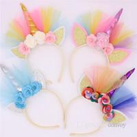 ingrosso le orecchie del gatto del partito-Baby Girls Hair Sticks accessori per capelli principessa pizzo Fiore orecchio gatto fascia copricapo per bambini copricapo elastico KFG35