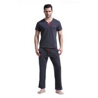 olanlar artı boyutu toptan satış-Marka Yeni Erkekler Pamuk Pijama Setleri Erkekler Rahat Katı Pijama Homme V boyun İpli Pijama Eşofman Artı Boyutu XL