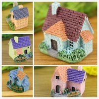 mini resina casas venda por atacado-Resina Casa Mini Villa Artesanal Em Miniatura Cottage Micro Jardim Decoração DIY Microlandschaft Home Office Decro