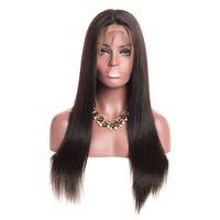 human hair wigs großhandel-Seidige Gerade Spitzefrontseitenperücke Brasilianische Jungfrau-menschenhaar Volle Spitze Perücken für Frauen Natürliche Farbe