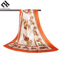 Wholesale china shawls wholesale - Evrfelan New Fashion Women Scarf Thin Spring Shawl Scarf Women China Satin Flower Printed Female Square Scarves Wraps