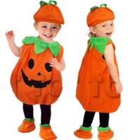 ingrosso bambino del vestito della zucca-Bambini svegli del bambino Vestiti Cosplay di Halloween Fancy Ball Style Performance Costume senza maniche Kid Baby Pumpkin Suit Dress