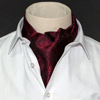 Wholesale Tuxedo Ascot Tie - 1 Piece Fashion Brand Men Necktie Cravat Polyester Paisley Pattern Gentlemen Dots Selft Tie Wedding Ascot Blue Bowtie Tuxedo