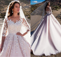 Wholesale long pleated skirt size 14 - 2018 Royal Ball Gown Wedding Dresses Sheer Neck 3 4 Long Sleeves Appliques Tulle Satin Saudi Arabic Wedding Gowns Castle Church Bridal Dress