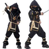 yıl boyu kostümü toptan satış-Cadılar bayramı Çocuk COS Giyim Ninja Elbise Boy Cosplay Kostüm Japonya Ninja Kayış Maske Polyester Takım için 4-12 Yaşında