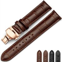 Wholesale 18mm Rose Gold Watch Band - Leather Watch Band Wrist Strap 16mm 18mm 20mm 22mm 24mm Rose Gold Butterfly Clasp Buckle Replacement Bracelet Belt Black Brown